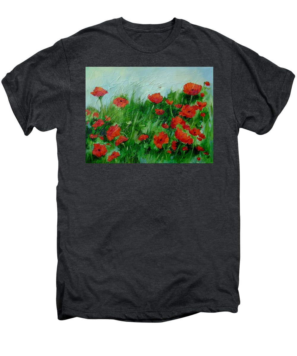 Red Poppies Men's Premium T-Shirt featuring the painting Summer Poppies by Ginger Concepcion