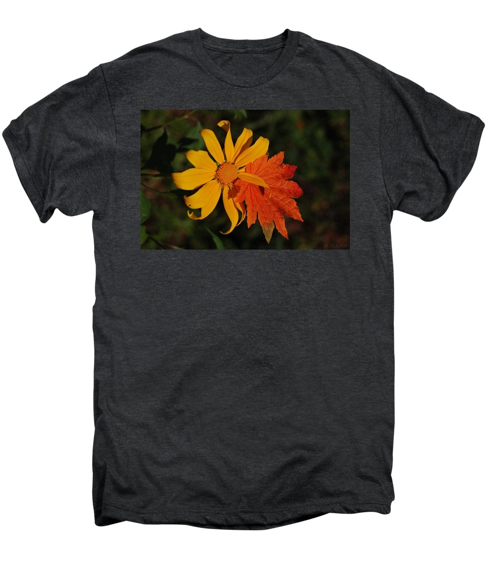 Pop Art Men's Premium T-Shirt featuring the photograph Sun Flower And Leaf by Rob Hans