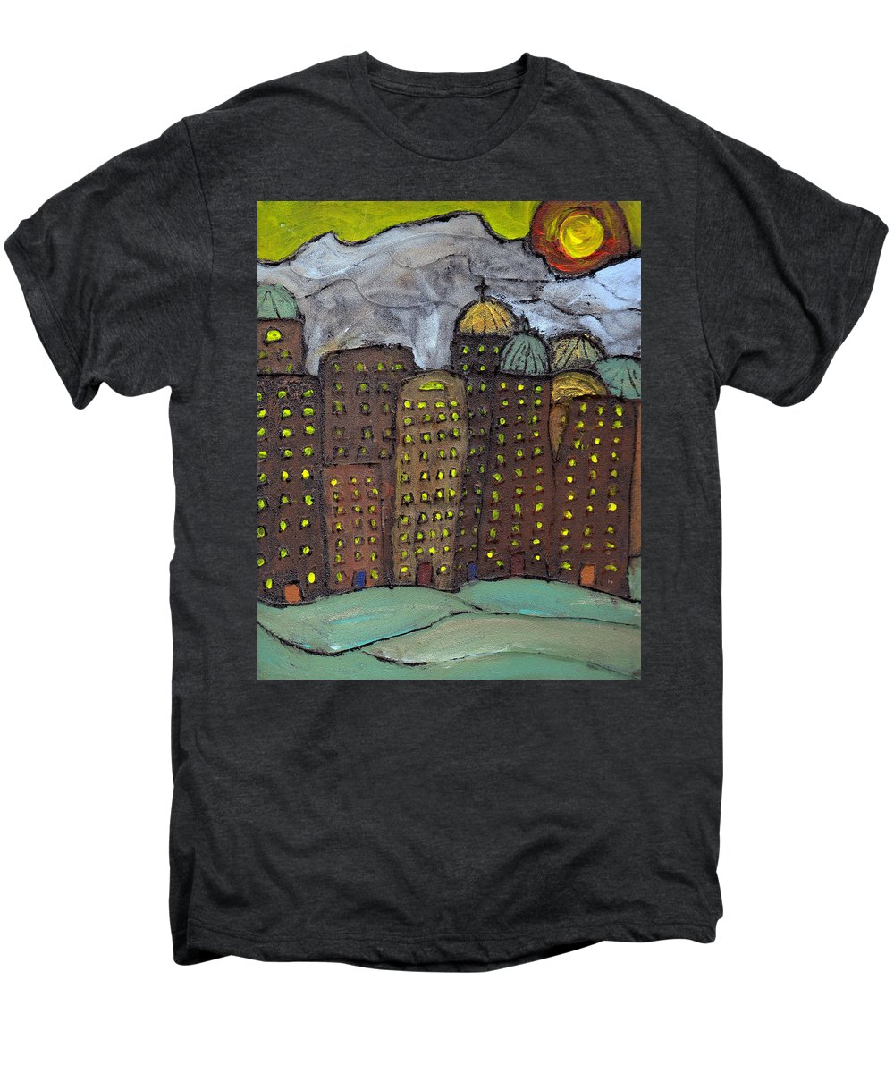 Buildings Men's Premium T-Shirt featuring the painting Sun Rising On Olde Towne by Wayne Potrafka