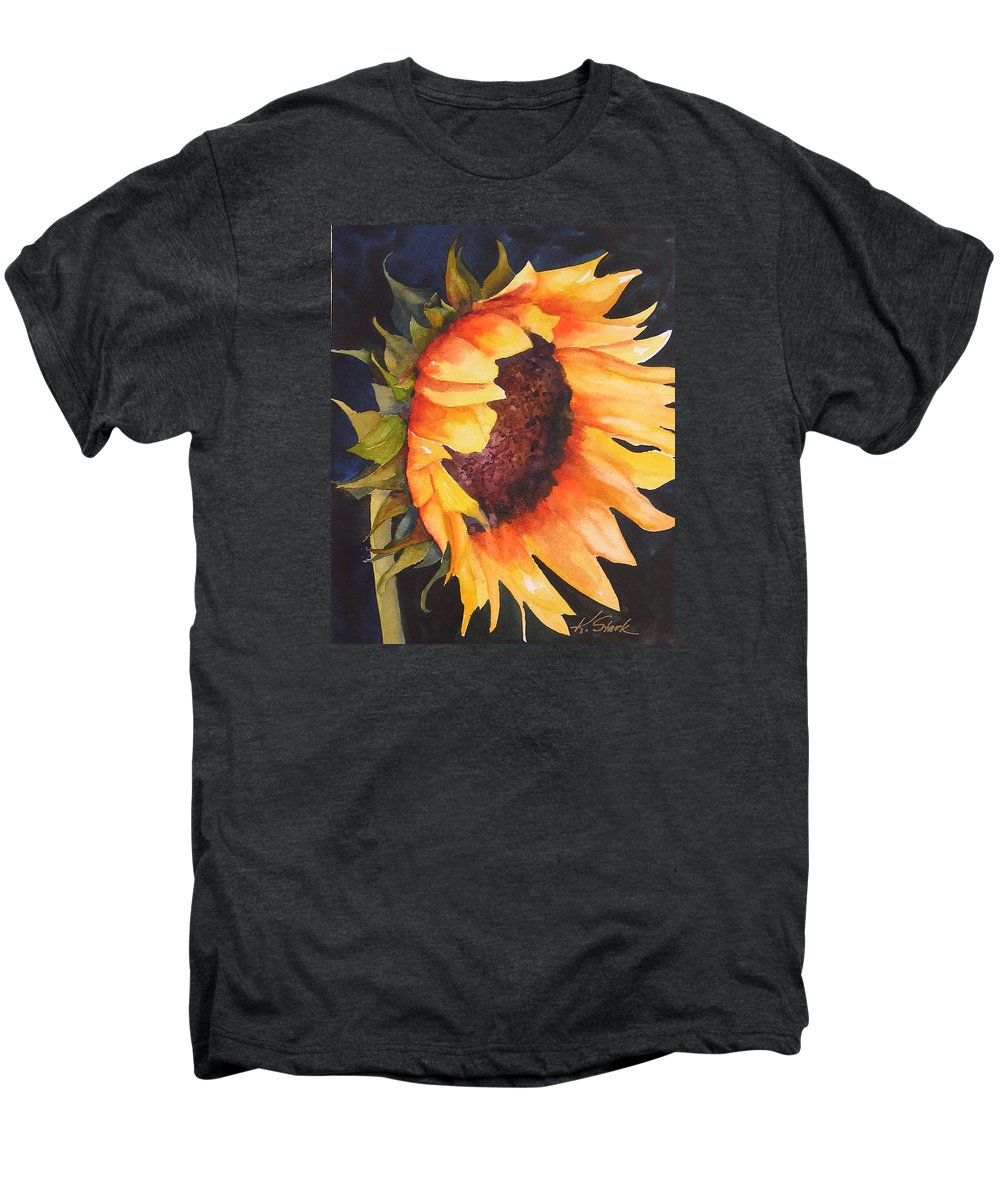 Floral Men's Premium T-Shirt featuring the painting Sunflower by Karen Stark