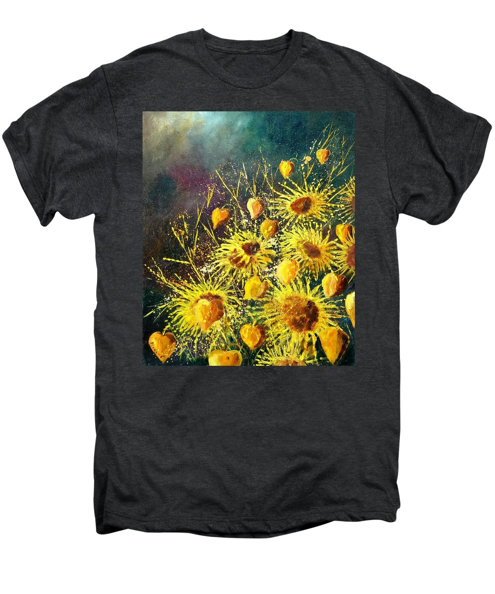 Flowers Men's Premium T-Shirt featuring the painting Sunflowers by Pol Ledent