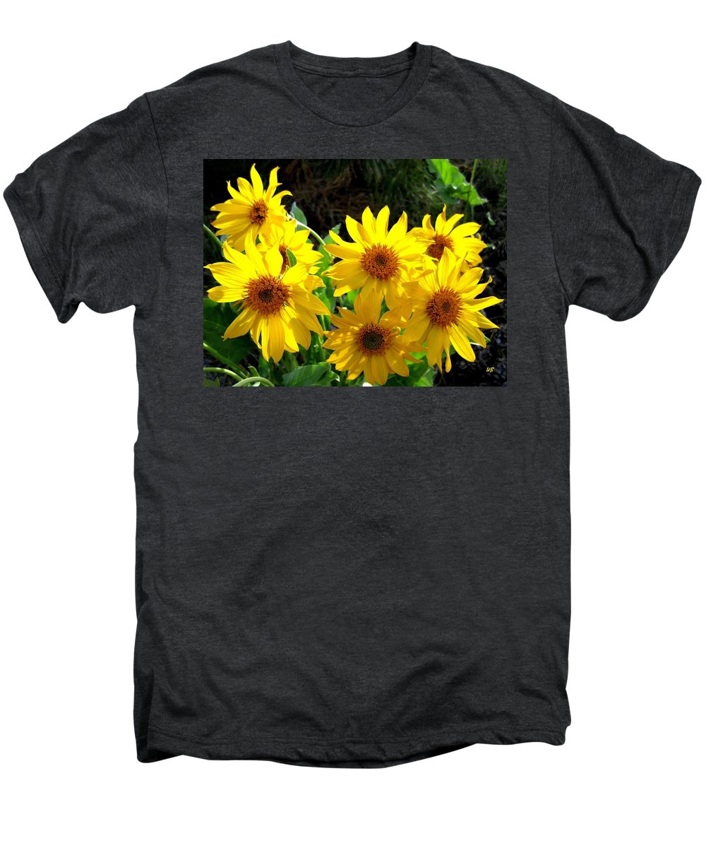 Wildflowers Men's Premium T-Shirt featuring the photograph Sunlit Wild Sunflowers by Will Borden