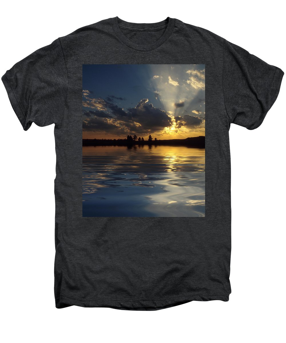 Sunset Men's Premium T-Shirt featuring the photograph Sunray Sunset by Jerry McElroy