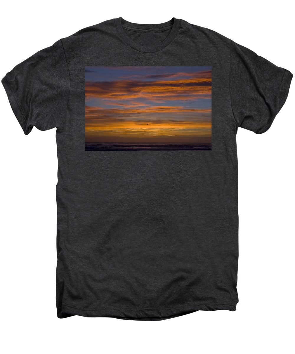 Sun Sunrise Cloud Clouds Morning Early Bright Orange Bird Flight Fly Flying Blue Ocean Water Waves Men's Premium T-Shirt featuring the photograph Sunrise by Andrei Shliakhau