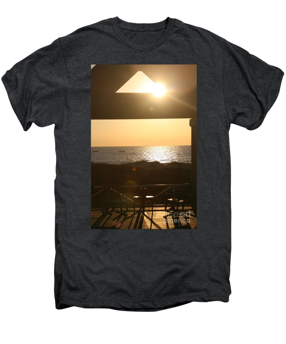 Sunrise Men's Premium T-Shirt featuring the photograph Sunrise Through The Pavilion by Nadine Rippelmeyer