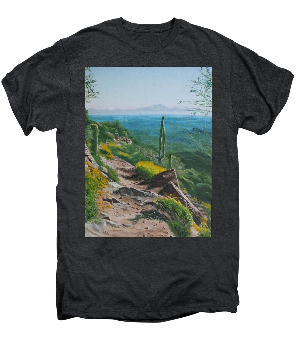 Landscape Men's Premium T-Shirt featuring the painting Sunrise Trail by Lea Novak