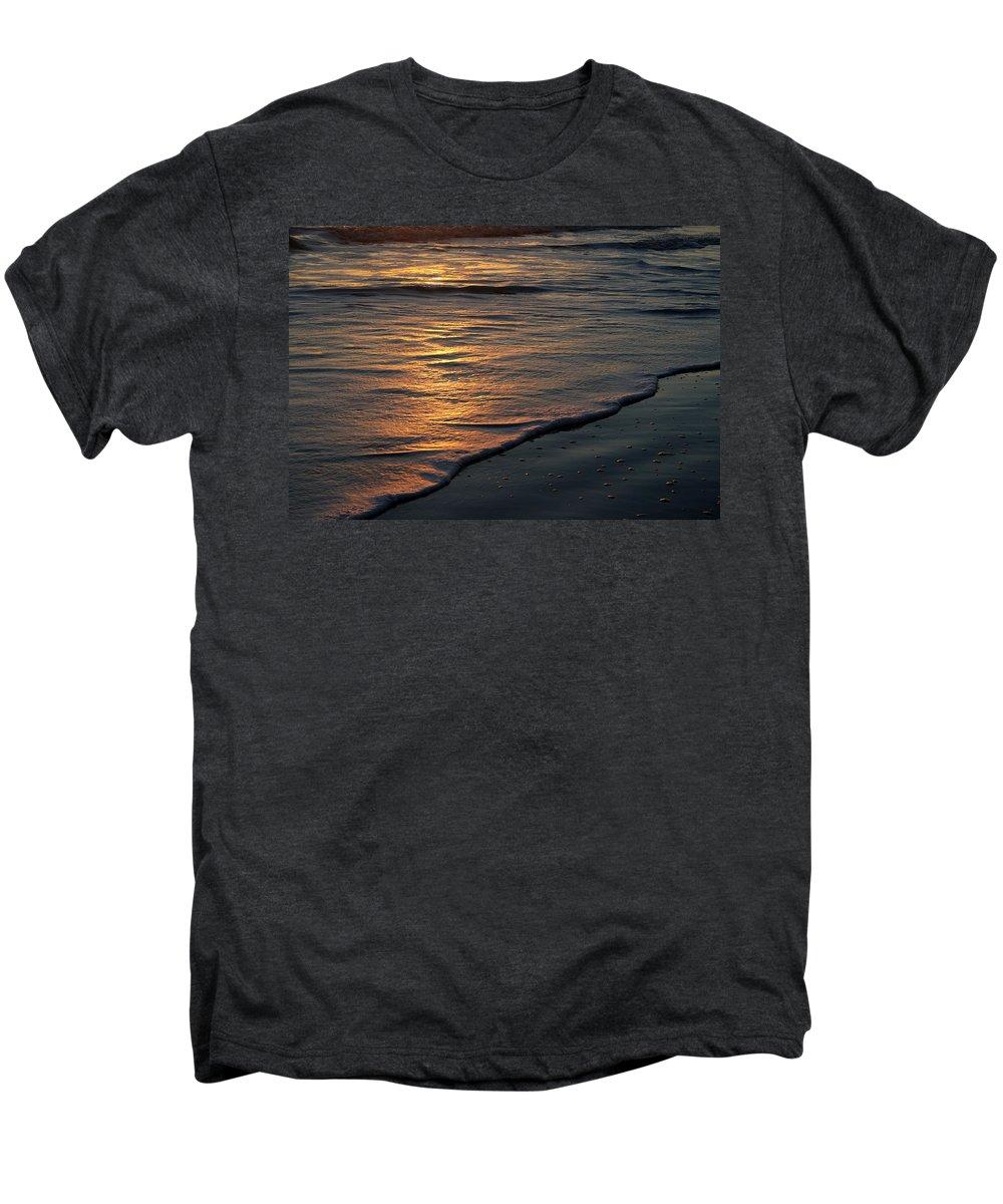 Ocean Beach Sun Sunrise Reflection Wave Tide Bright Orange Gold Water Vacation Men's Premium T-Shirt featuring the photograph Sunrise Waves by Andrei Shliakhau