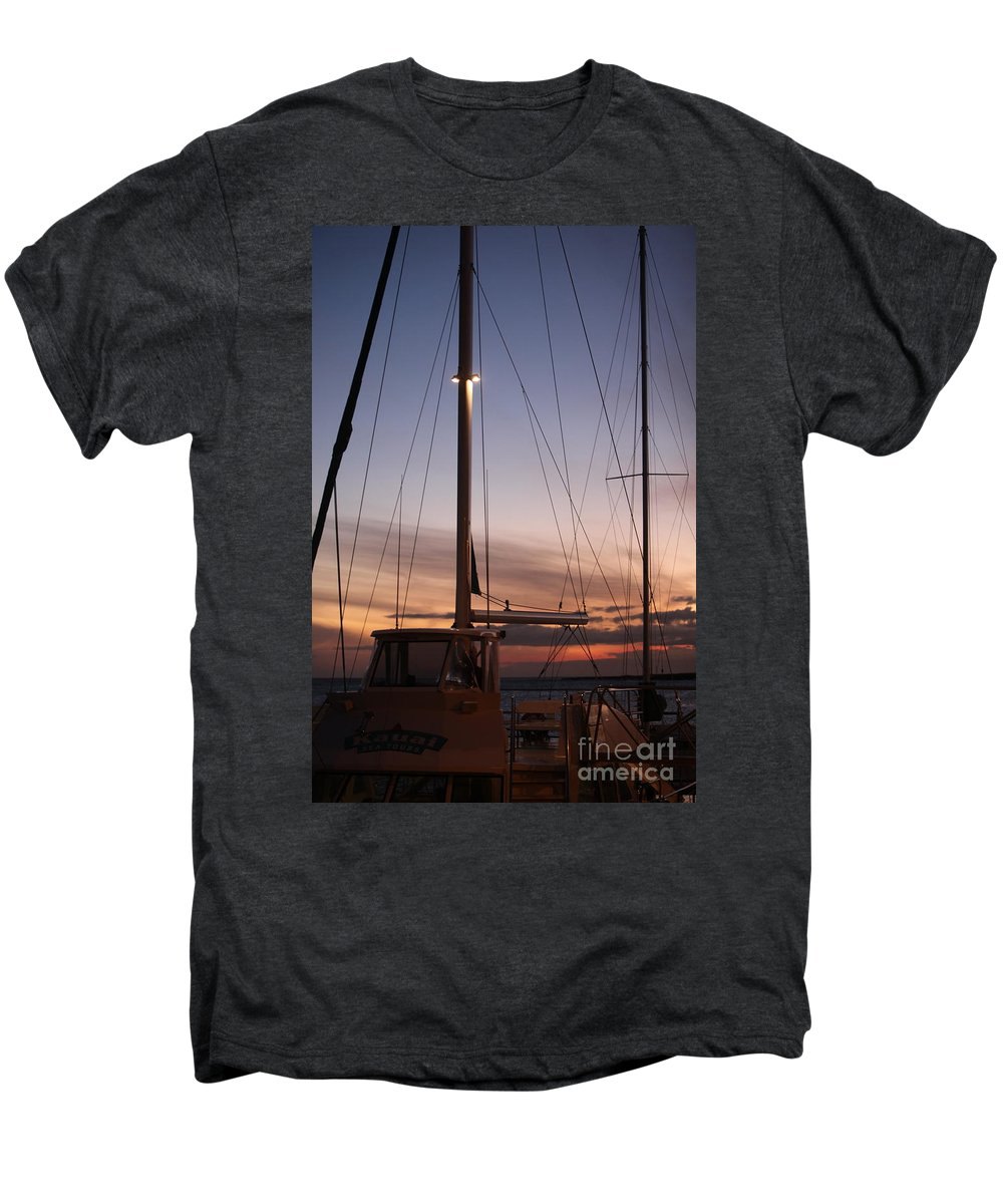 Sunset Men's Premium T-Shirt featuring the photograph Sunset And Sailboat by Nadine Rippelmeyer