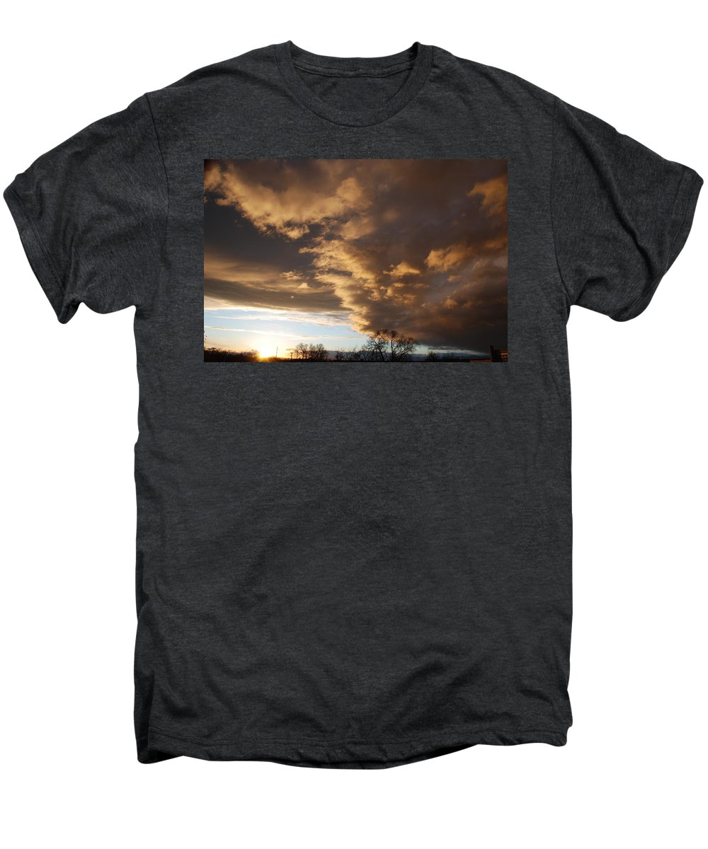 Sunset Men's Premium T-Shirt featuring the photograph Sunset At The New Mexico State Capital by Rob Hans
