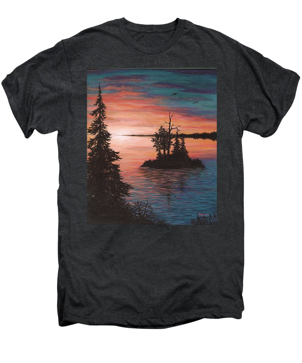 Sunset Men's Premium T-Shirt featuring the painting Sunset Island by Roz Eve