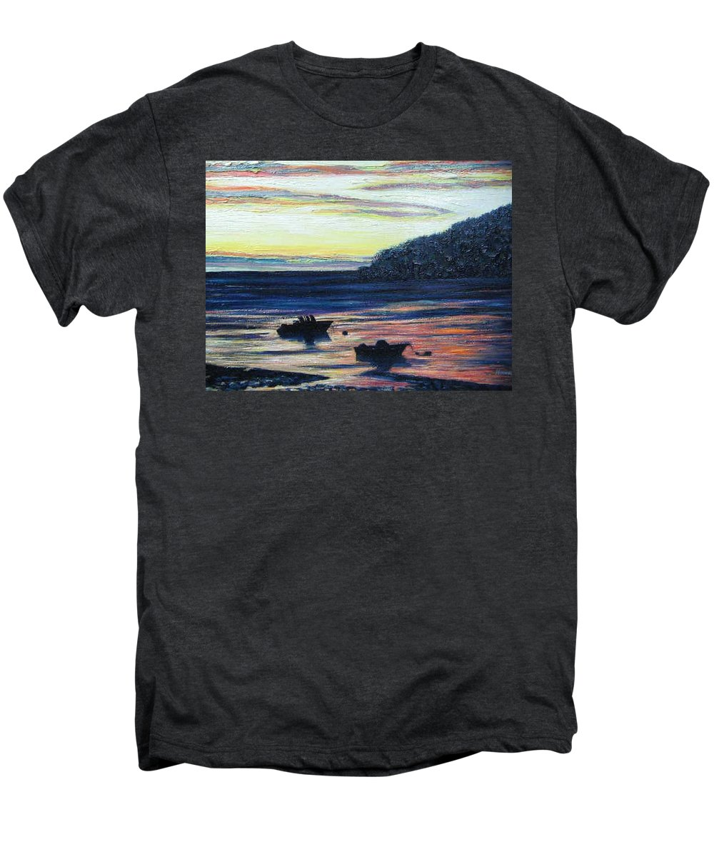 Maine Men's Premium T-Shirt featuring the painting Sunset On Maine Coast by Richard Nowak