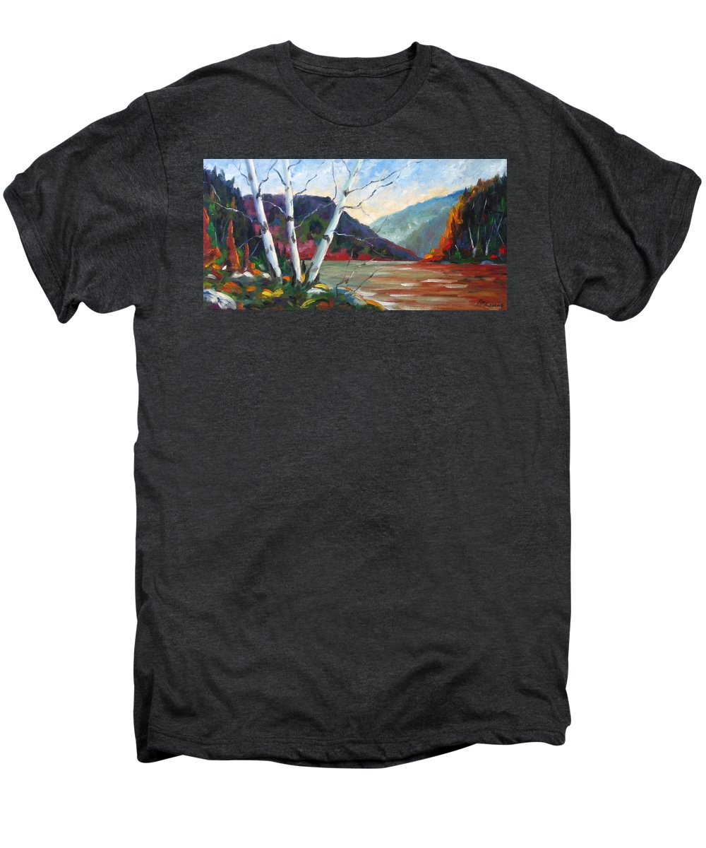 Landscape; Landscapes/scenic; Birches;sun;lake;pranke Men's Premium T-Shirt featuring the painting Sunset On The Lake by Richard T Pranke