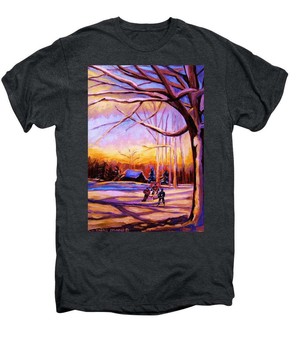 Sunset Over Hockey Men's Premium T-Shirt featuring the painting Sunset Over The Hockey Game by Carole Spandau