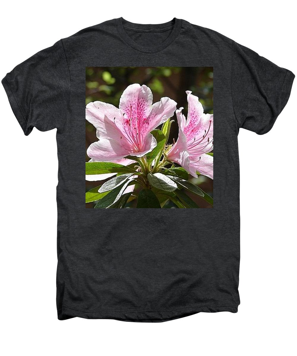 Lily Pinkgreen Pedals Leaves Men's Premium T-Shirt featuring the photograph Sunshine by Luciana Seymour