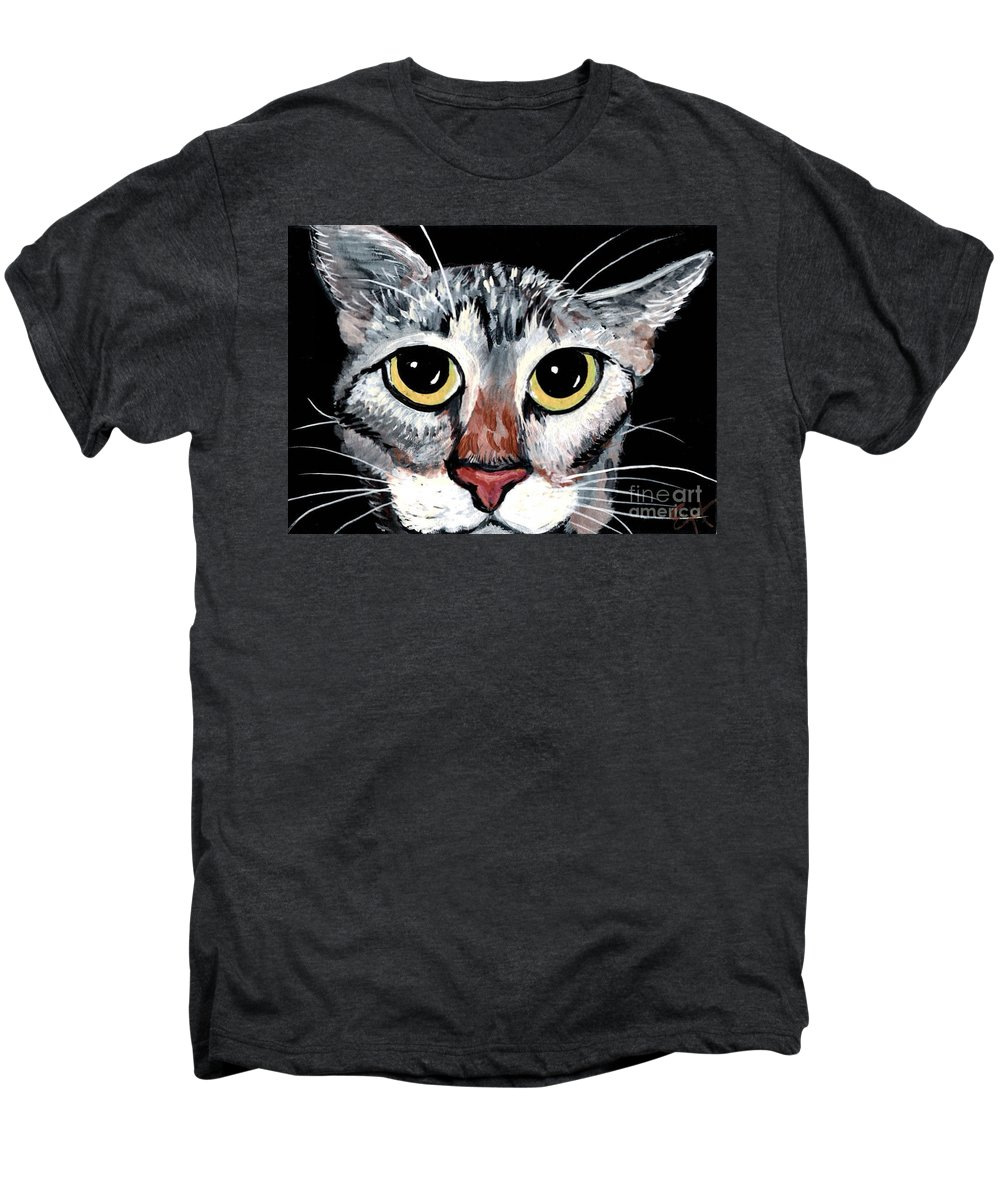 Cat Men's Premium T-Shirt featuring the painting Tabby Eyes by Elaine Hodges