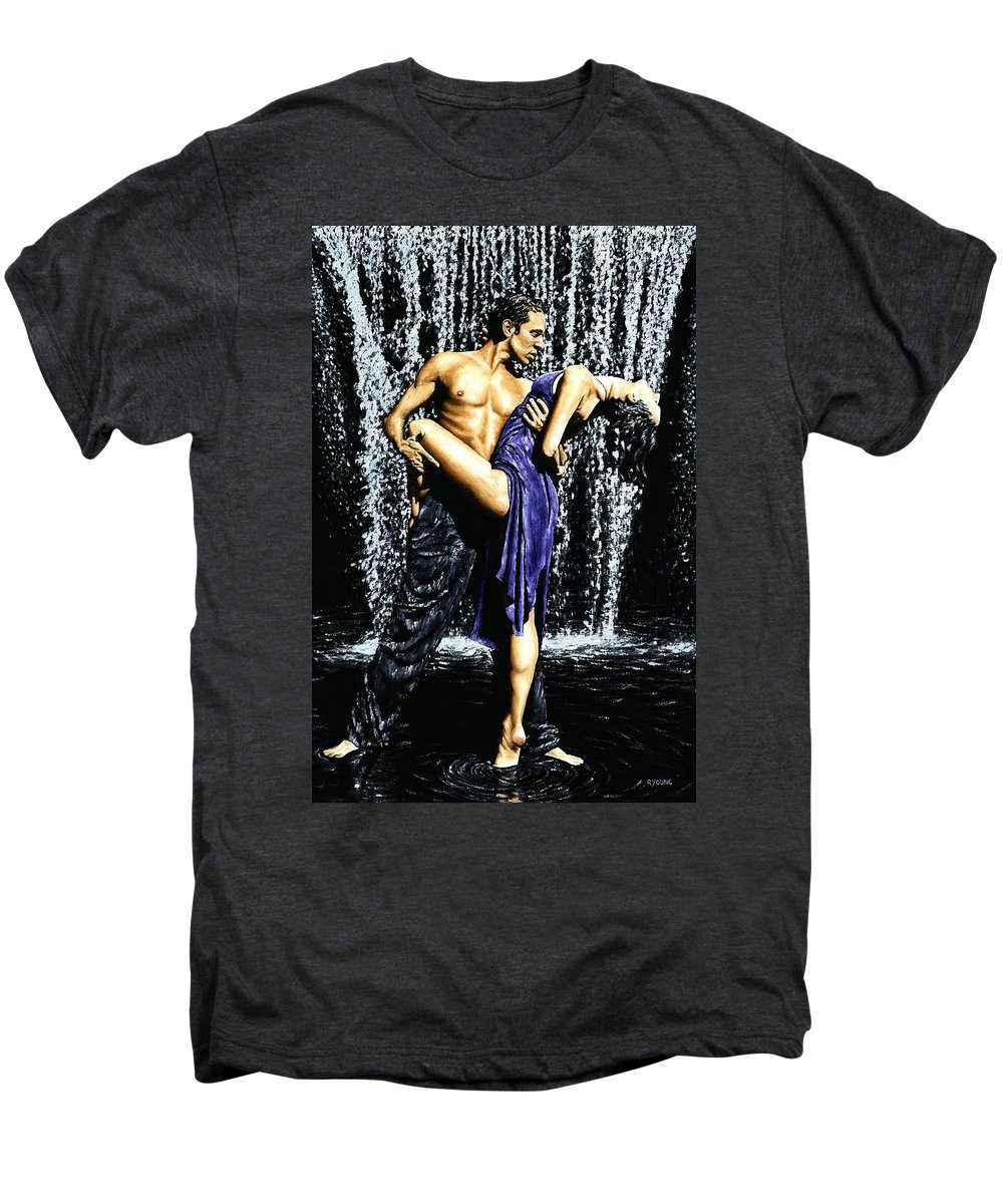 Tango Men's Premium T-Shirt featuring the painting Tango Cascade by Richard Young