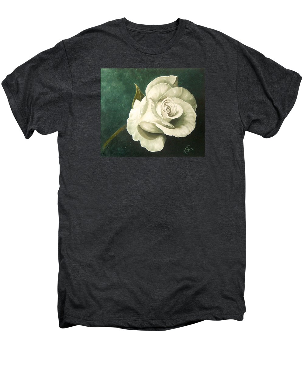Rose Flower Still Life White Men's Premium T-Shirt featuring the painting Tea Rose by Natalia Tejera