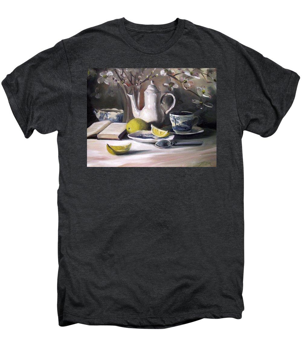 Lemon Men's Premium T-Shirt featuring the painting Tea With Lemon by Nancy Griswold