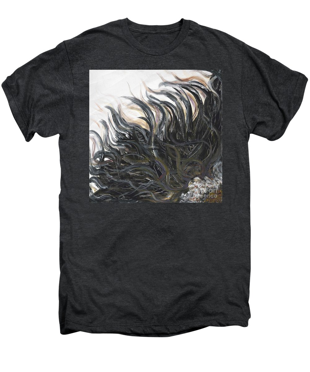 Texture Men's Premium T-Shirt featuring the painting Textured Black Sunflower by Nadine Rippelmeyer