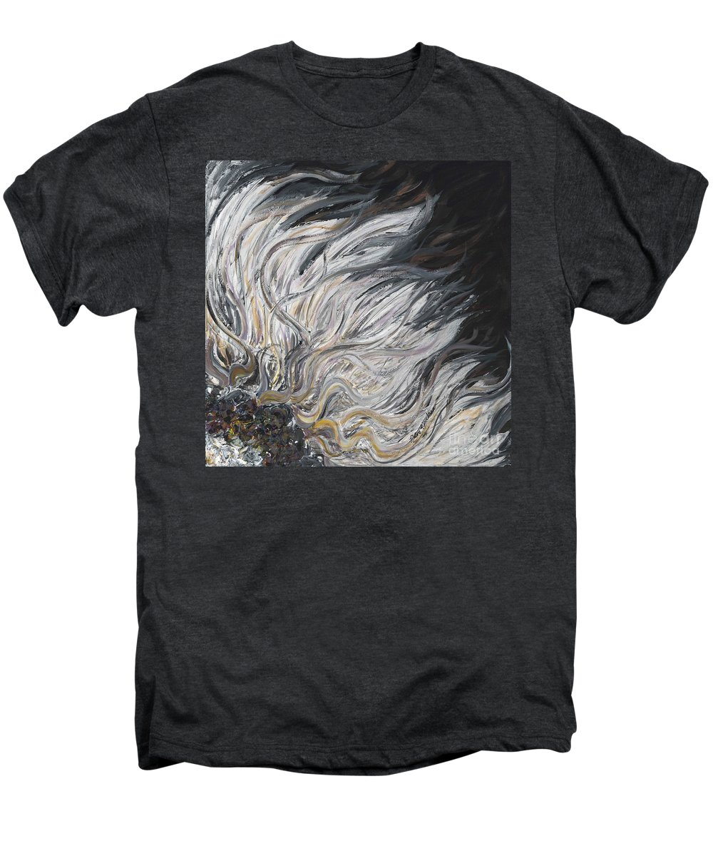 White Men's Premium T-Shirt featuring the painting Textured White Sunflower by Nadine Rippelmeyer