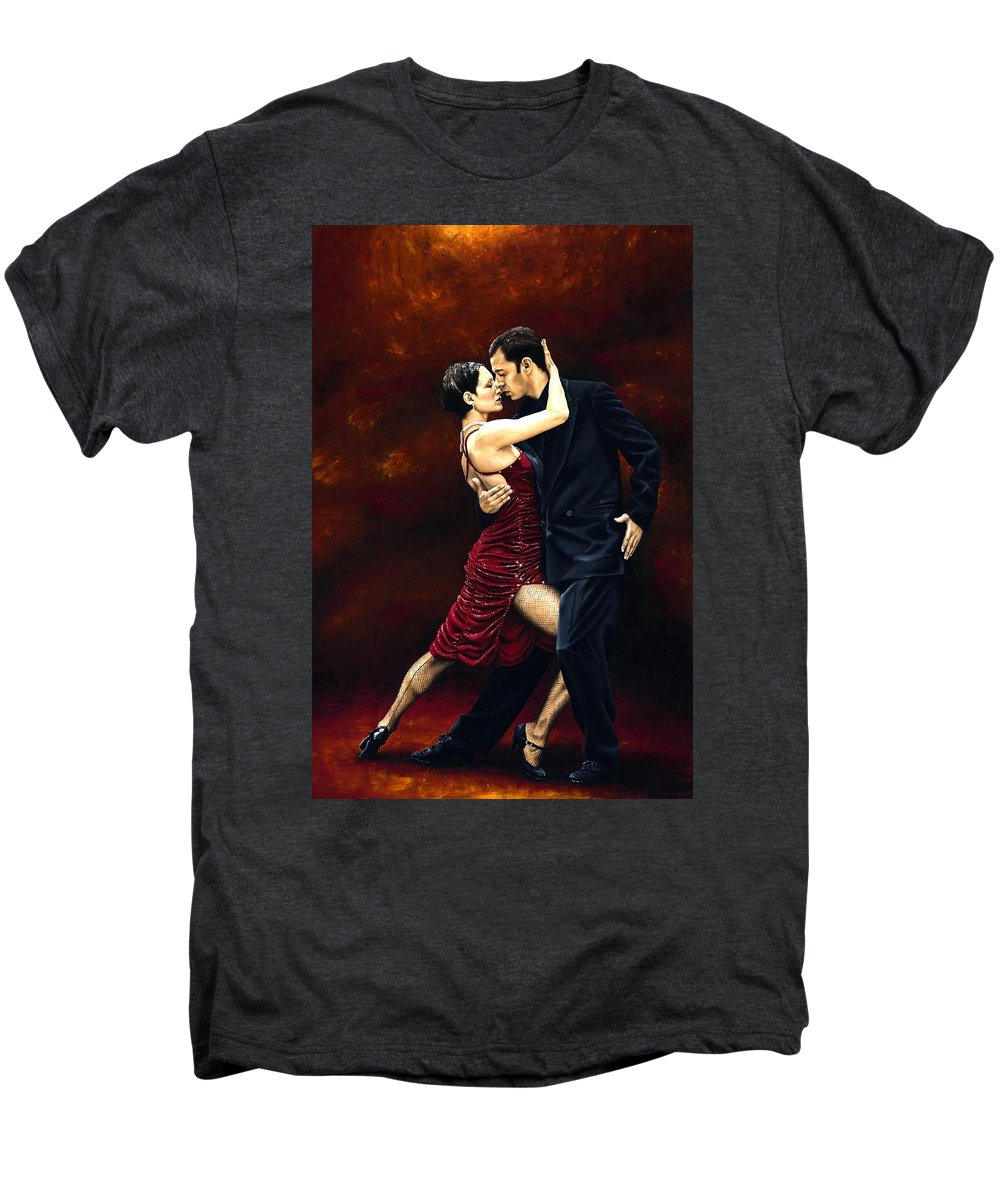 Tango Men's Premium T-Shirt featuring the painting That Tango Moment by Richard Young