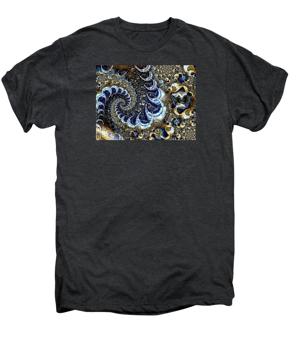 Fractal Diamonds Blue Jewel Dance River Men's Premium T-Shirt featuring the digital art The Blue Diamonds by Veronica Jackson