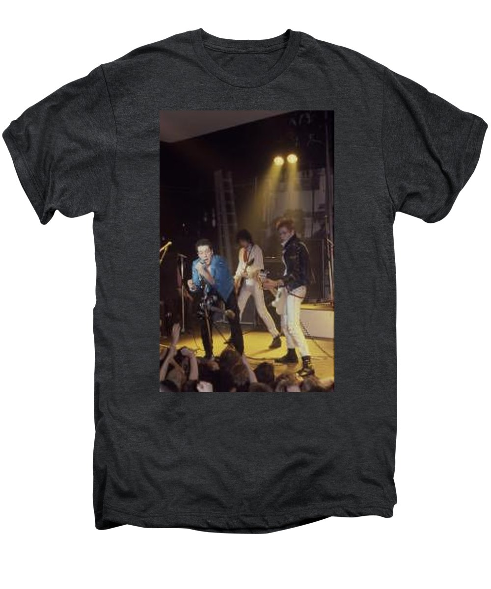 The Clash-london 1978 Photo By Dawn Wirth-copyrighted Men's Premium T-Shirt featuring the photograph The Clash-london - July 1978 by Dawn Wirth