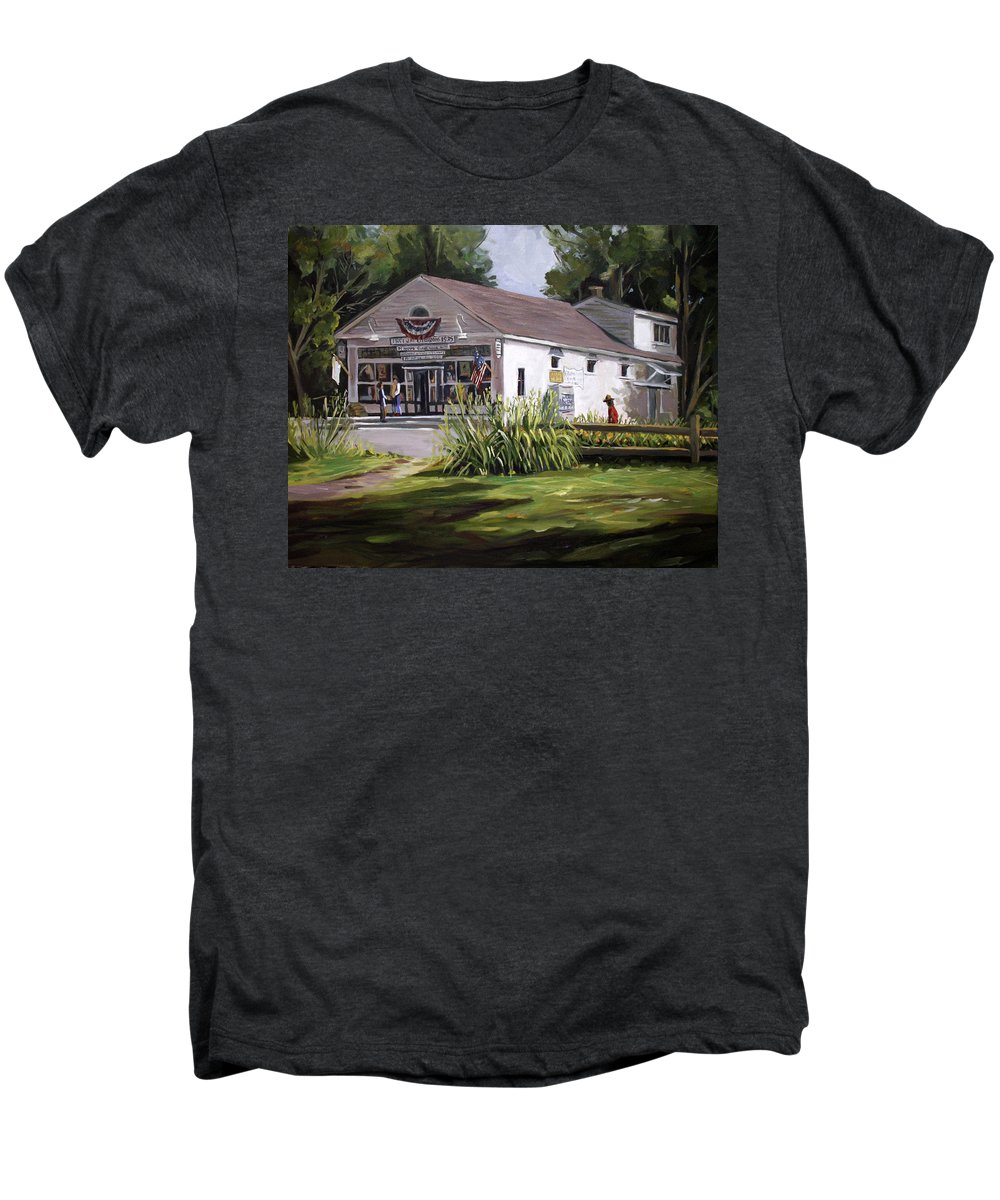 Buildings Men's Premium T-Shirt featuring the painting The Country Store by Nancy Griswold