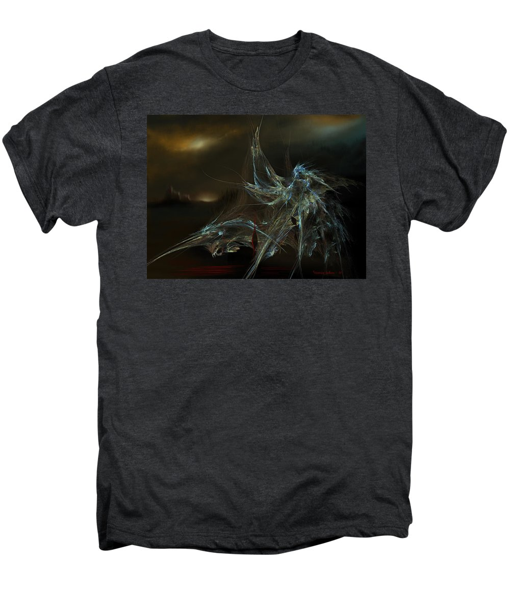 Dragon Warrior Medieval Fantasy Darkness Men's Premium T-Shirt featuring the digital art The Dragon Warrior by Veronica Jackson