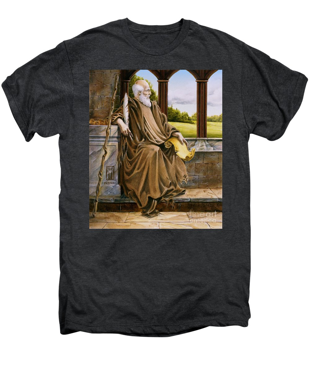 Wise Man Men's Premium T-Shirt featuring the painting The Hermit Nascien by Melissa A Benson