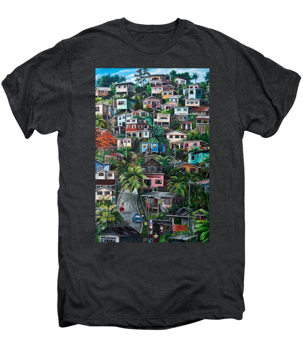 Landscape Painting Cityscape Painting Houses Painting Hill Painting Lavantille Port Of Spain Painting Trinidad And Tobago Painting Caribbean Painting Tropical Painting Caribbean Painting Original Painting Greeting Card Painting Men's Premium T-Shirt featuring the painting The Hill   Trinidad by Karin Dawn Kelshall- Best