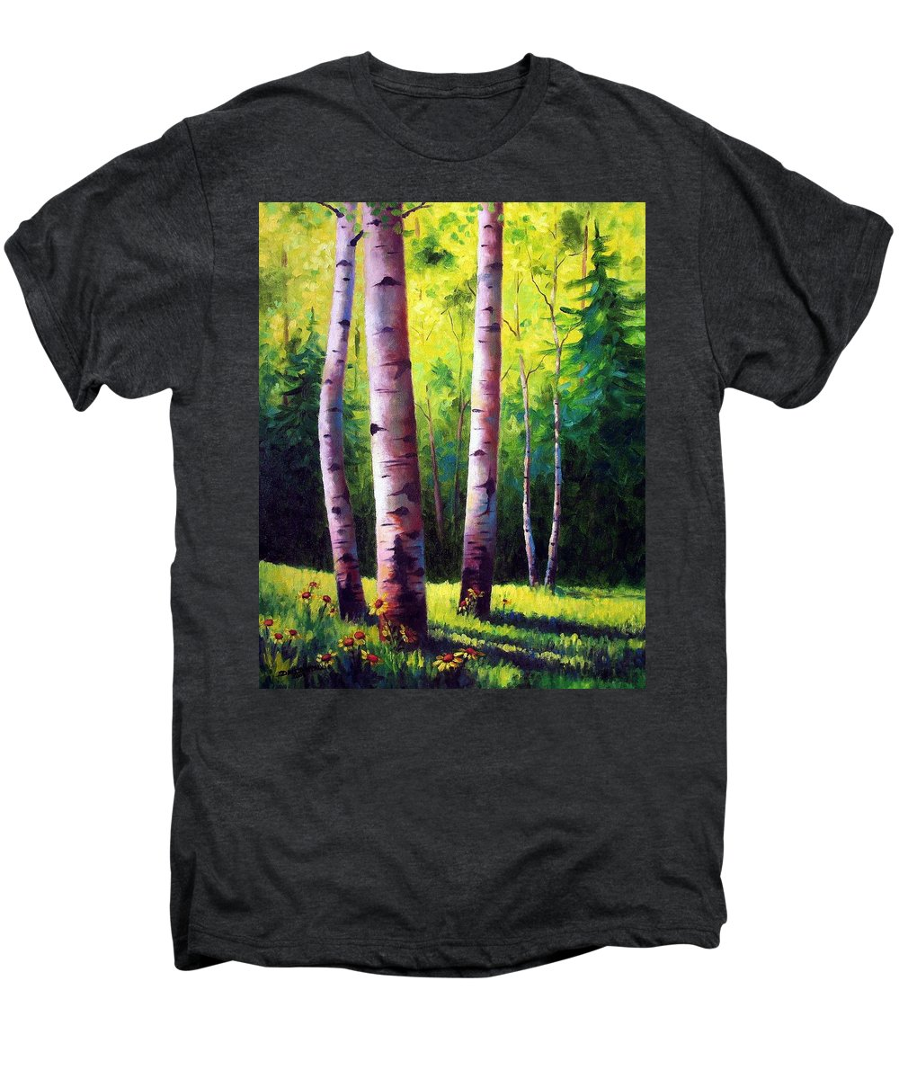 Aspen Men's Premium T-Shirt featuring the painting The Light Of Spring by David G Paul