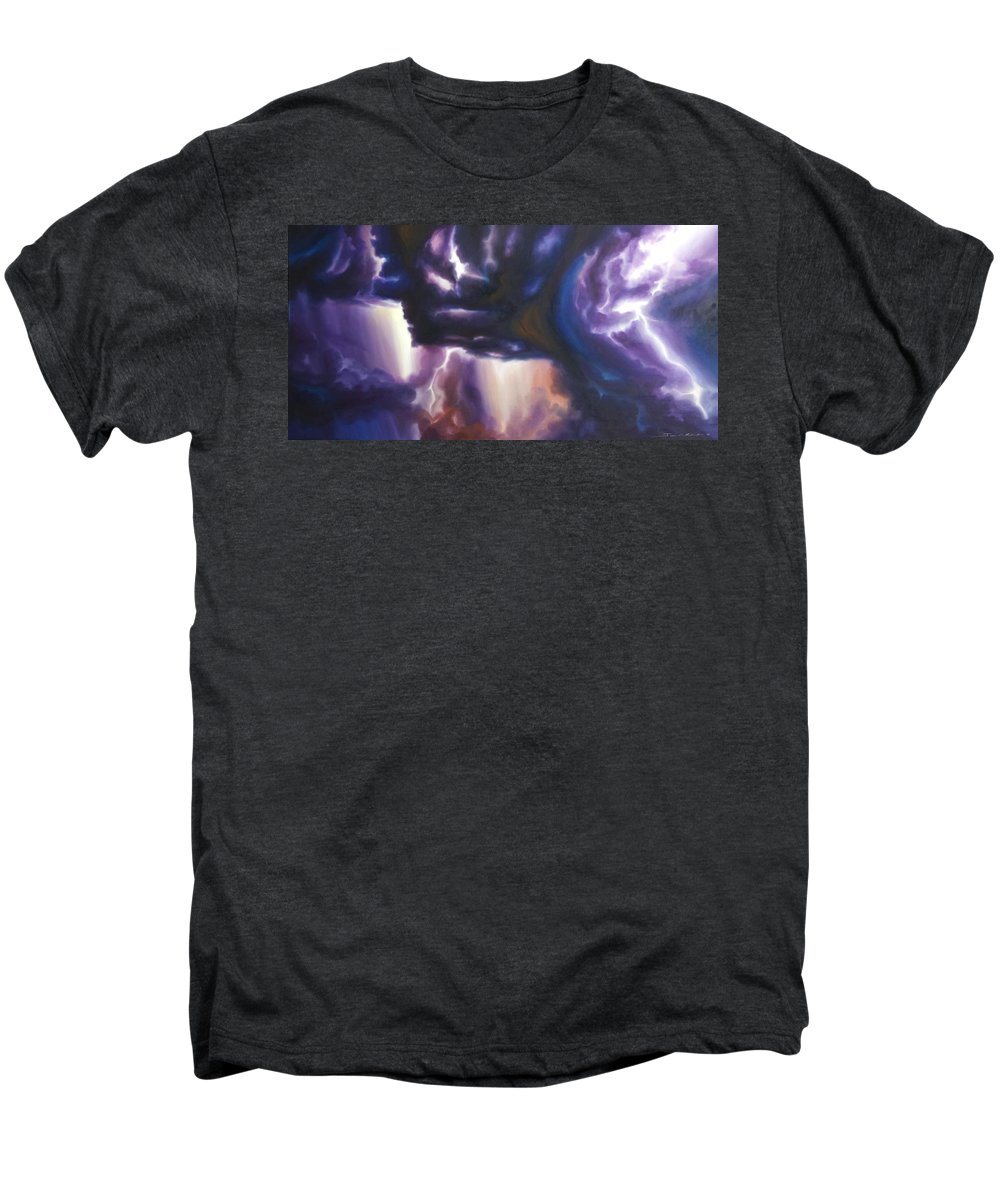 Tempest Men's Premium T-Shirt featuring the painting The Lightning by James Christopher Hill
