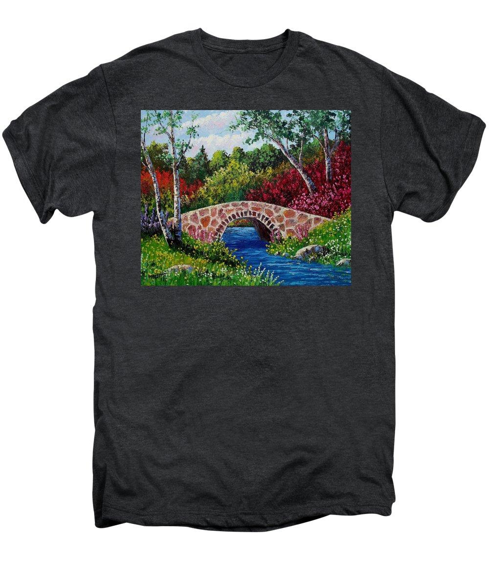 Landscape Men's Premium T-Shirt featuring the painting The Little Stone Bridge by David G Paul