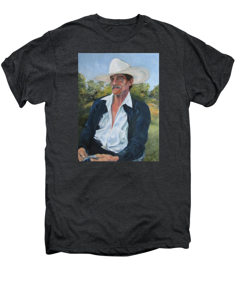 Portrait Men's Premium T-Shirt featuring the painting The Man From The Valley by Connie Schaertl