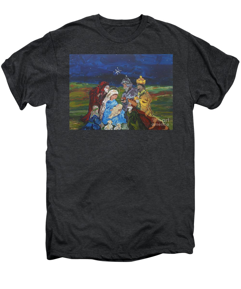 Nativity Men's Premium T-Shirt featuring the painting The Nativity by Reina Resto