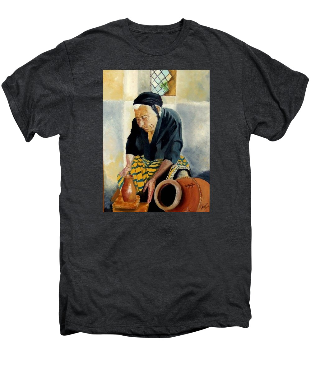 Old People Men's Premium T-Shirt featuring the painting The Old Potter by Jane Simpson