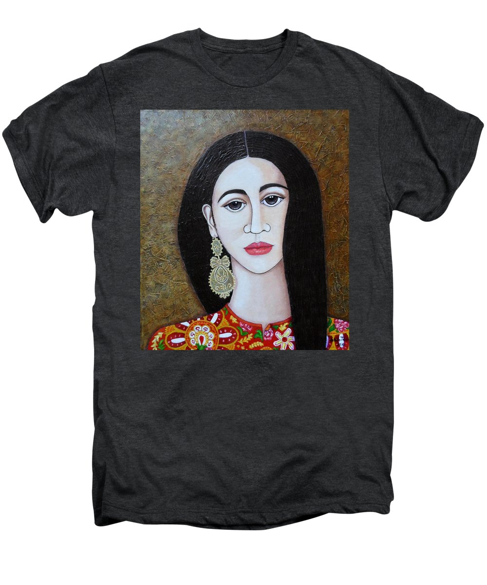Woman Men's Premium T-Shirt featuring the painting The Portuguese Earring 2 by Madalena Lobao-Tello