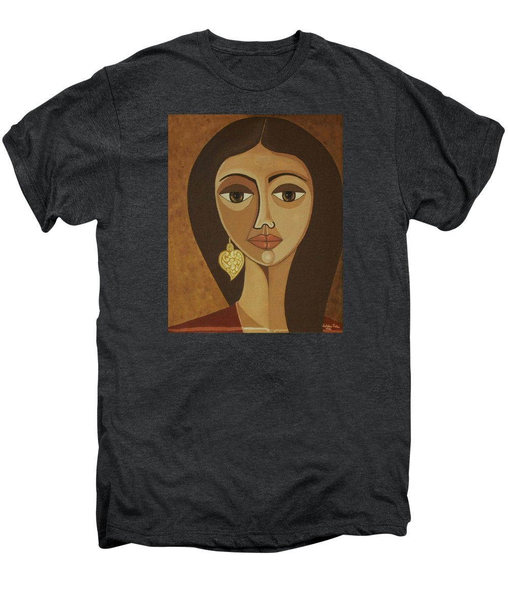 Portuguese Men's Premium T-Shirt featuring the painting The Portuguese Earring by Madalena Lobao-Tello