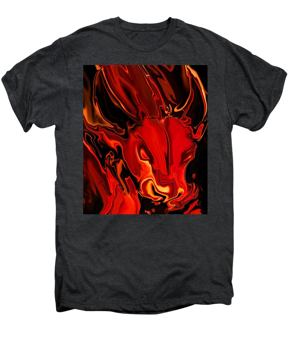 Animals Men's Premium T-Shirt featuring the digital art The Red Bull by Rabi Khan