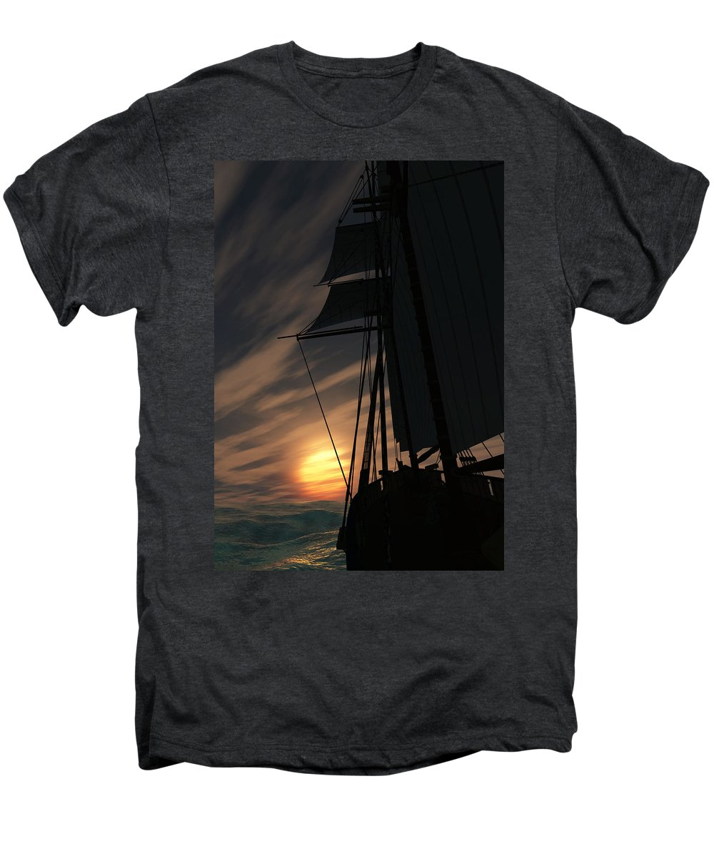 Ships Men's Premium T-Shirt featuring the digital art The Voyage Home by Richard Rizzo