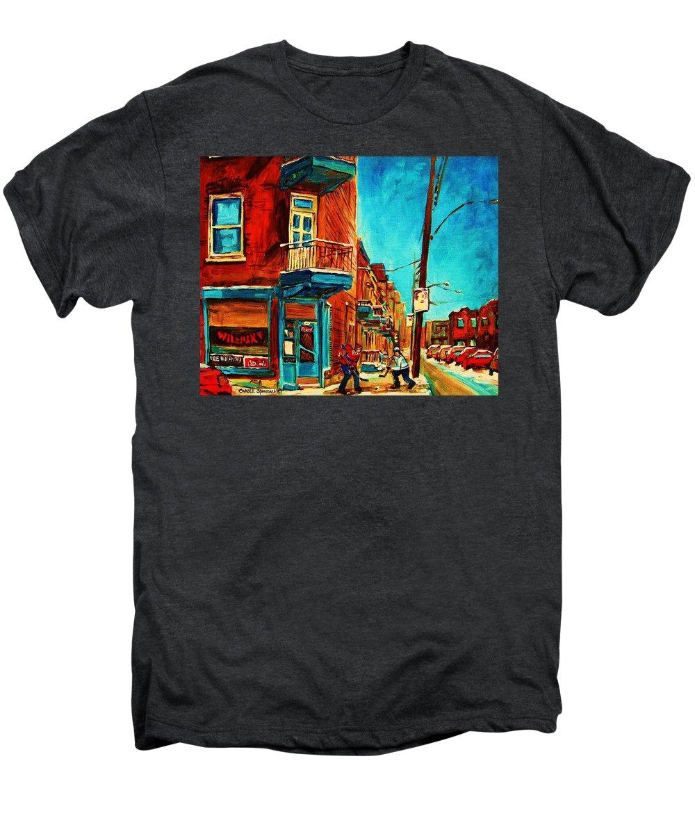 Wilenskys Doorway Men's Premium T-Shirt featuring the painting The Wilensky Doorway by Carole Spandau