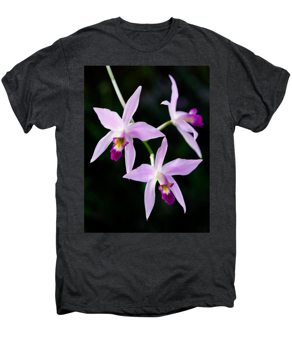 Orchid Men's Premium T-Shirt featuring the photograph Three Orchids by Marilyn Hunt