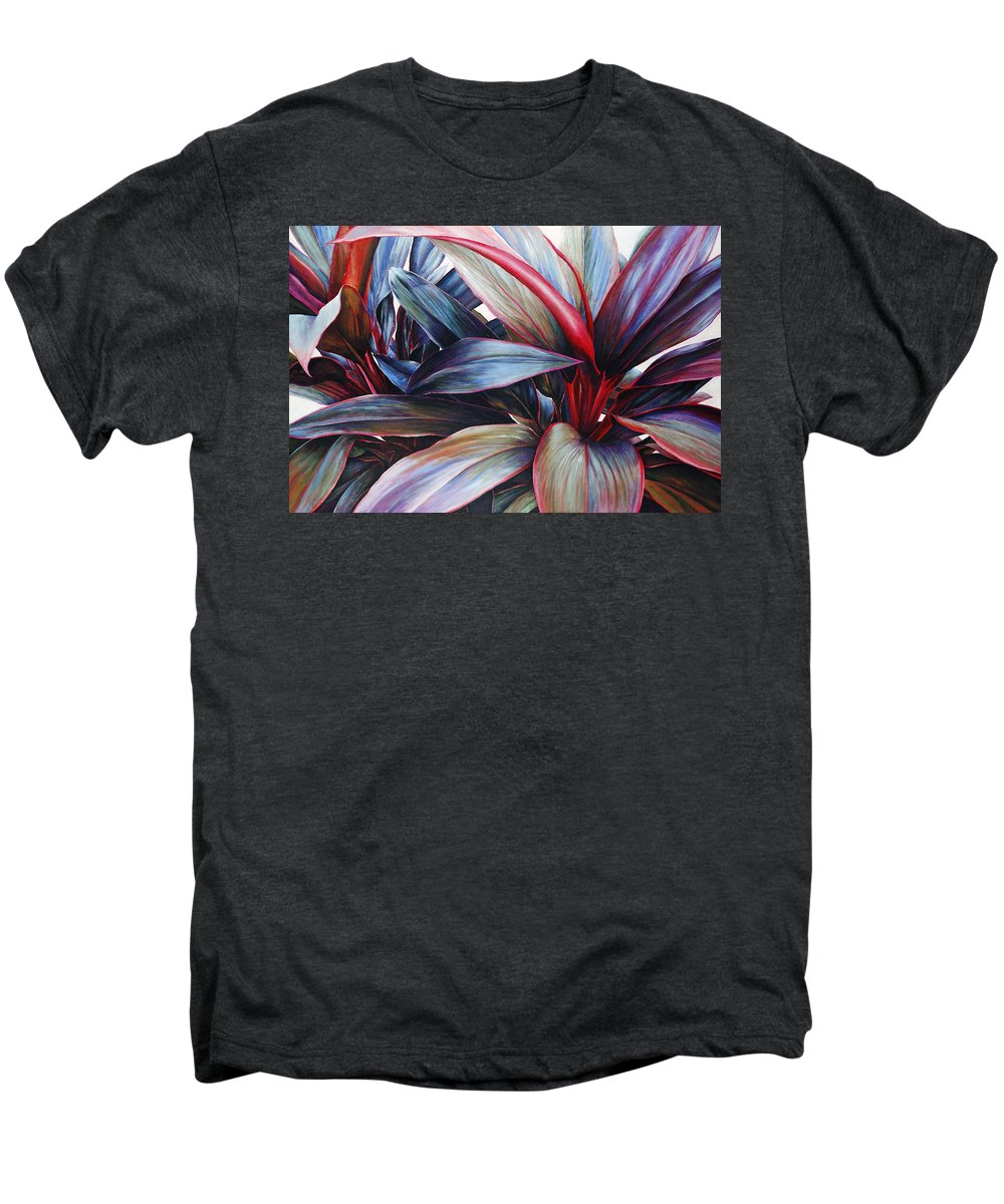 Acrylic Men's Premium T-Shirt featuring the painting Ti In Blue by Sandra Blazel - Printscapes