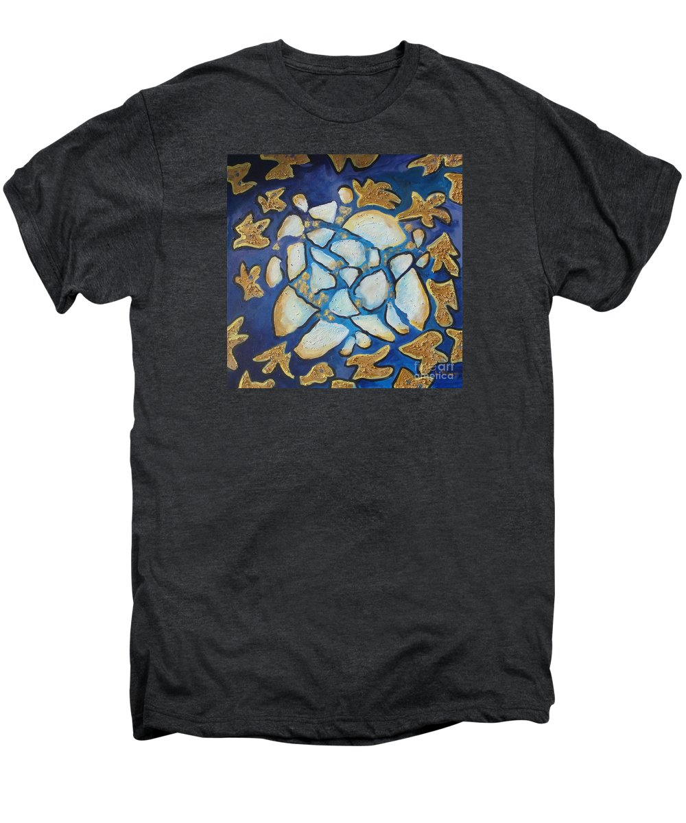 Abstract Men's Premium T-Shirt featuring the painting Tikkun Olam Heal The World by Laurie Morgan