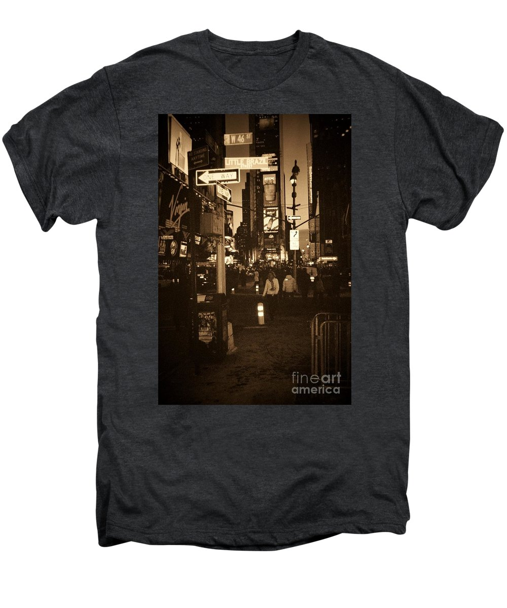 New York Men's Premium T-Shirt featuring the photograph Times Square by Debbi Granruth