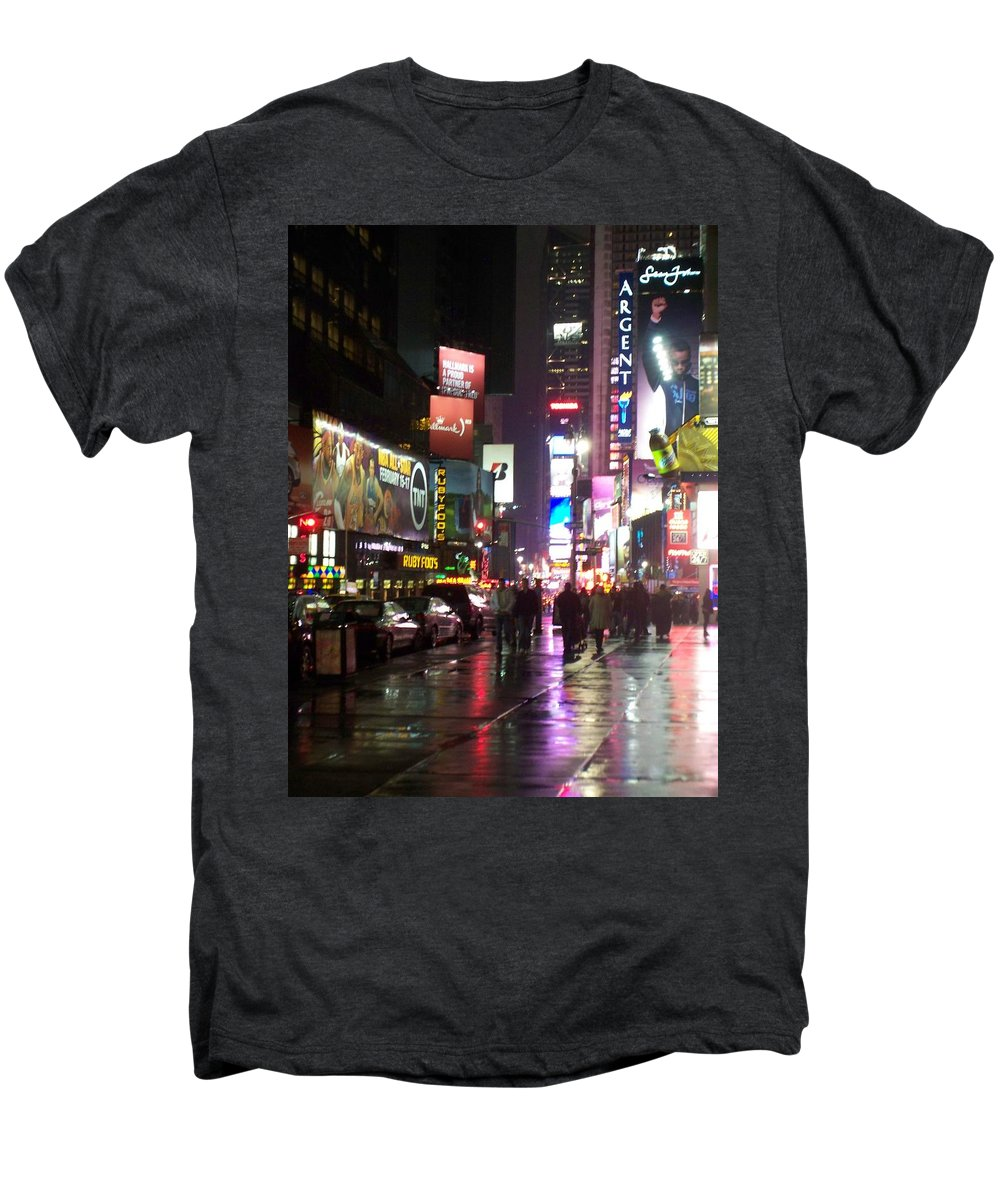 Times Square Men's Premium T-Shirt featuring the photograph Times Square In The Rain 1 by Anita Burgermeister