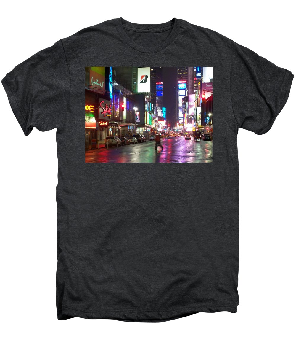 Times Square Men's Premium T-Shirt featuring the photograph Times Square In The Rain 2 by Anita Burgermeister