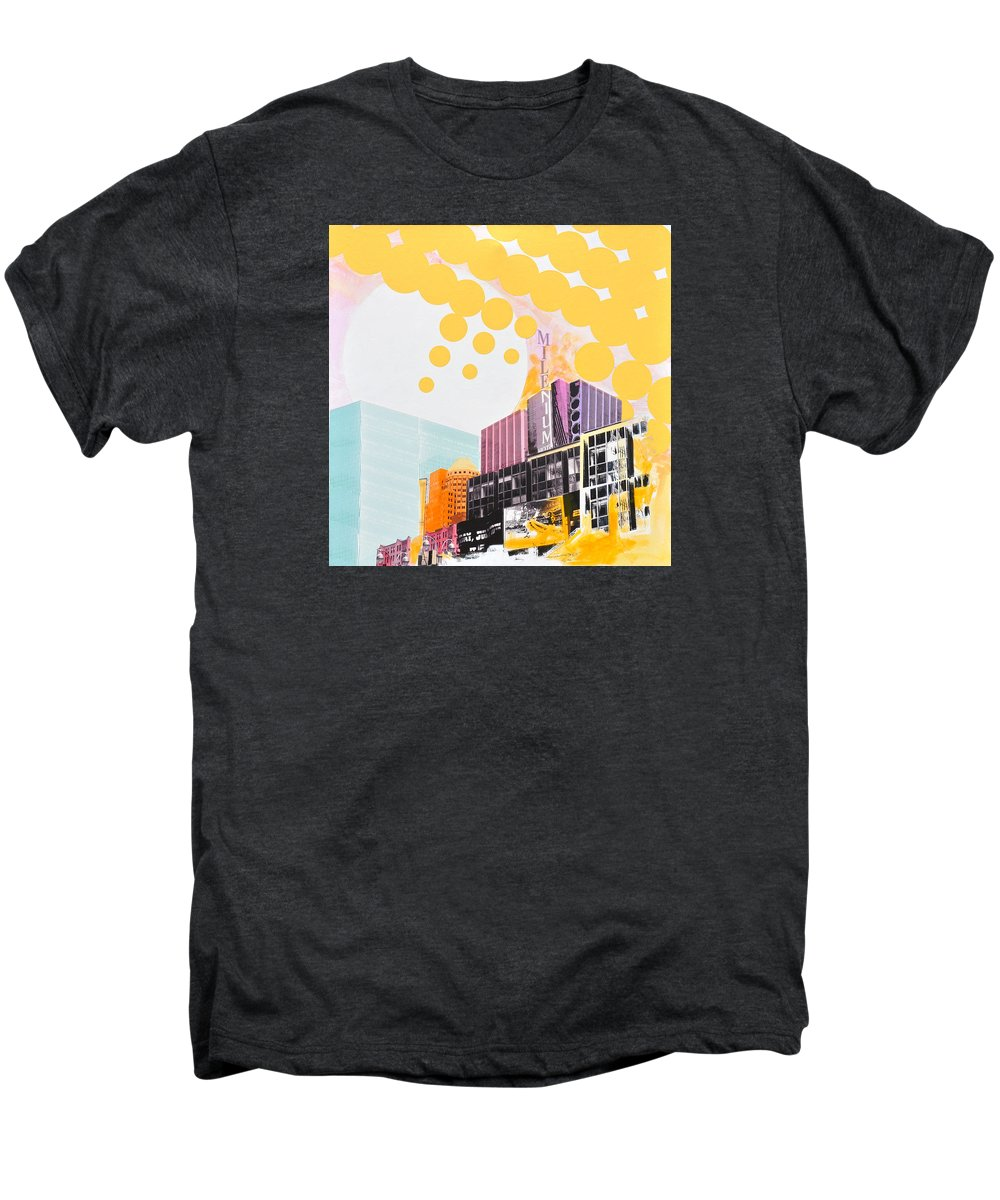 Ny Men's Premium T-Shirt featuring the painting Times Square Milenium Hotel by Jean Pierre Rousselet