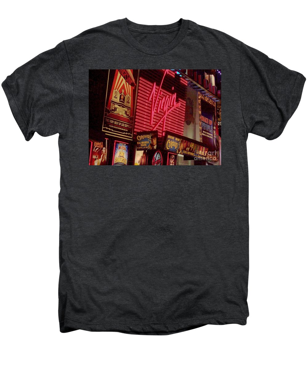 Times Square Men's Premium T-Shirt featuring the photograph Times Square Night by Debbi Granruth